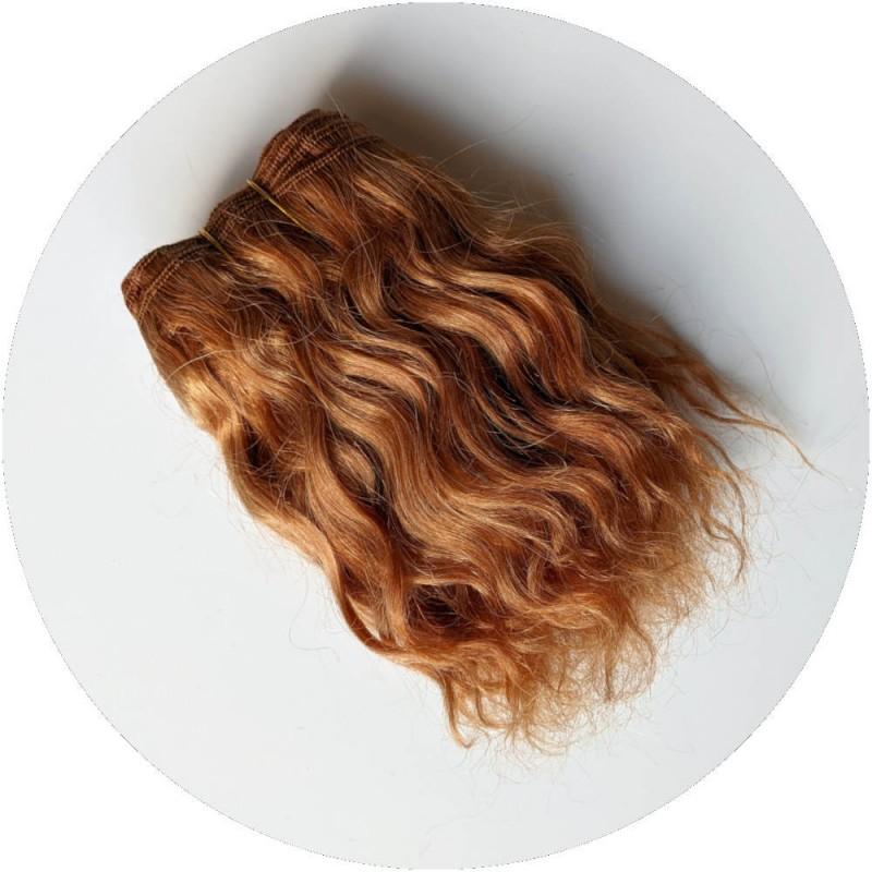 Cheveux roux de poupée waldorf en bande