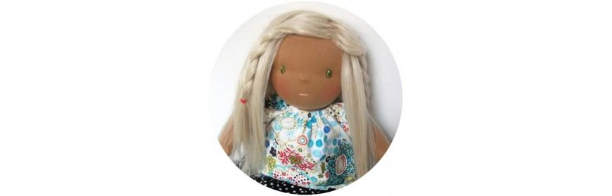 Cheveux en bande pour poupée waldorf et poupées de chiffon