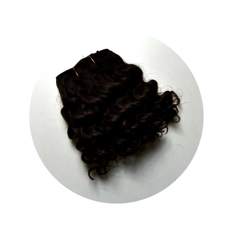 Cheveux en bande pour poupée noirs bouclés