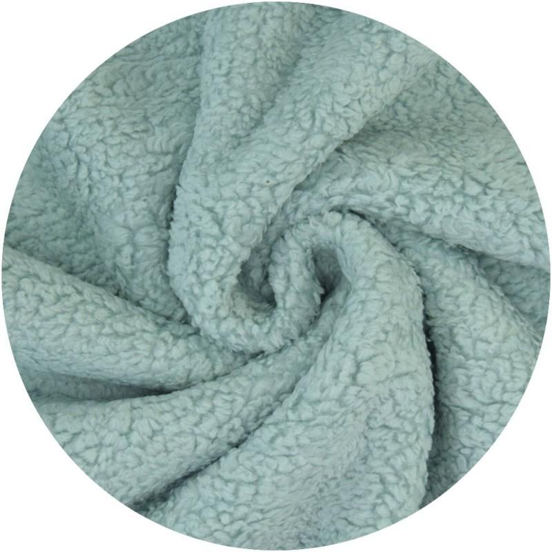 Tissu Peluche coton - bleu mint