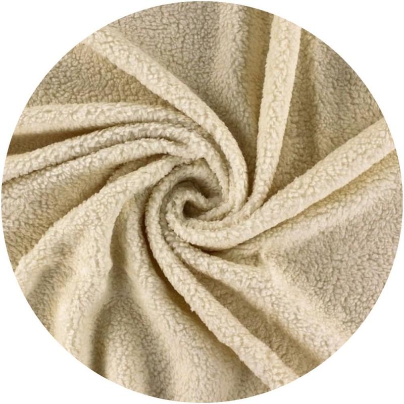 coupon tissu peluche ours coton - Crème